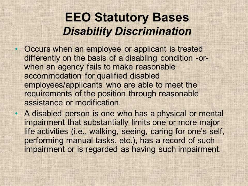 EEO Statutory Bases Disability Discrimination