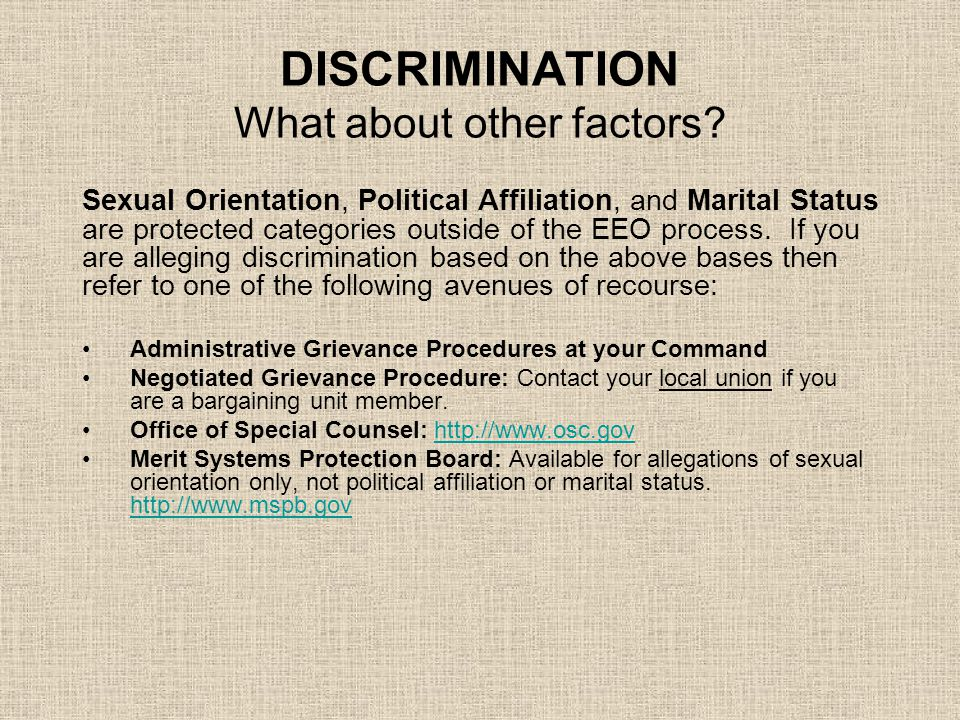 DISCRIMINATION What about other factors
