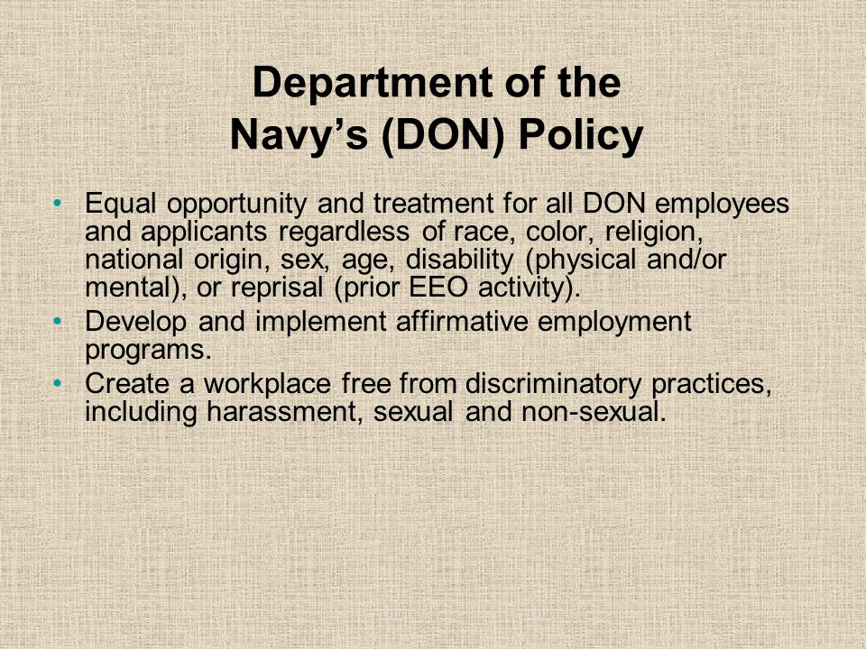 Department of the Navy's (DON) Policy