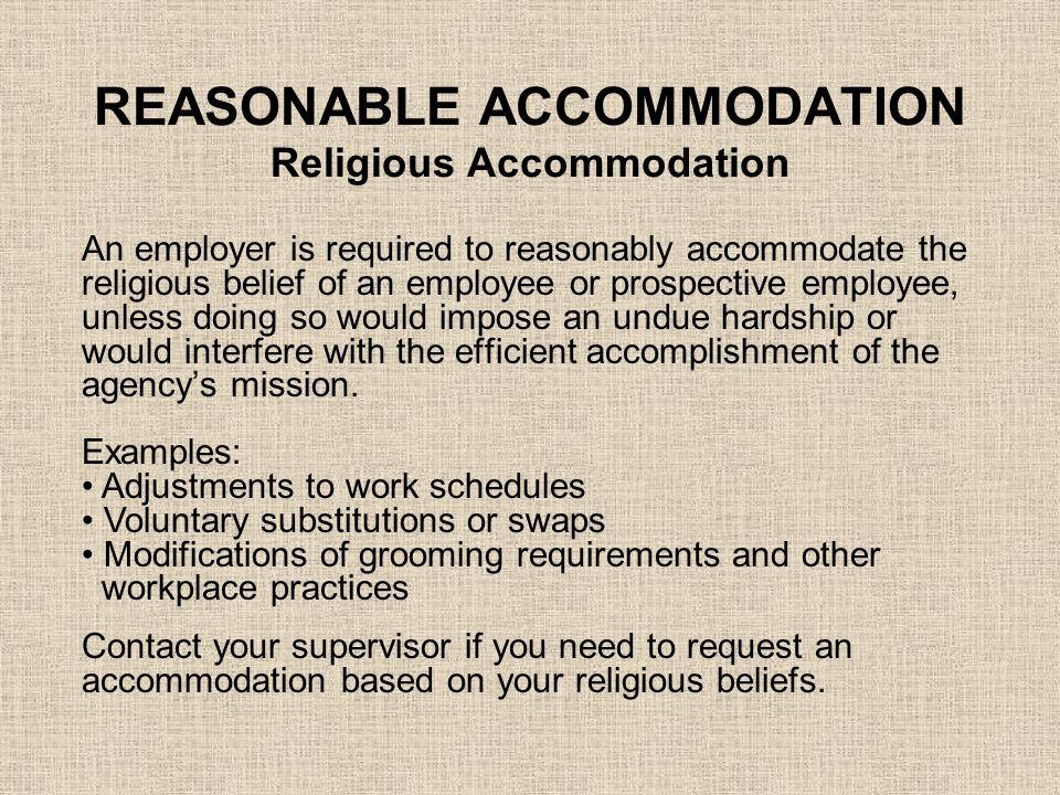 REASONABLE ACCOMMODATION Religious Accommodation