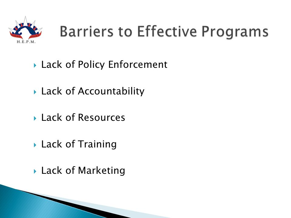 Barriers to Effective Programs