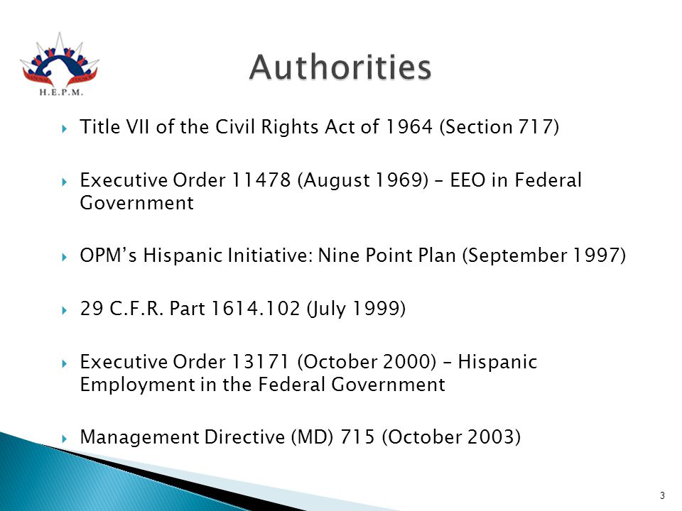 Authorities Title VII of the Civil Rights Act of 1964 (Section 717)
