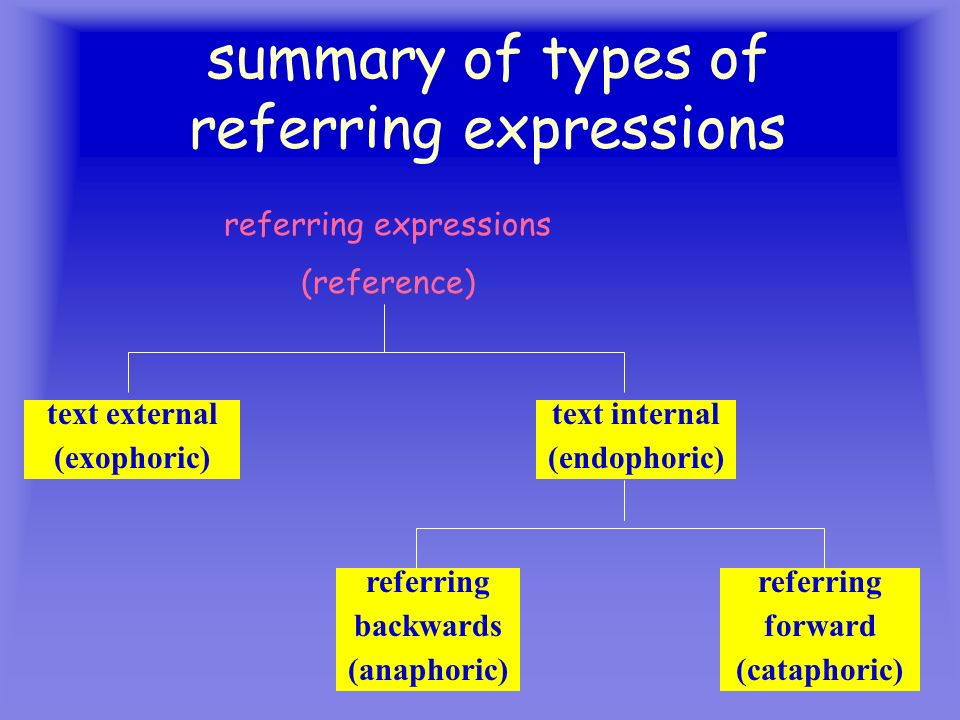 summary of types of referring expressions