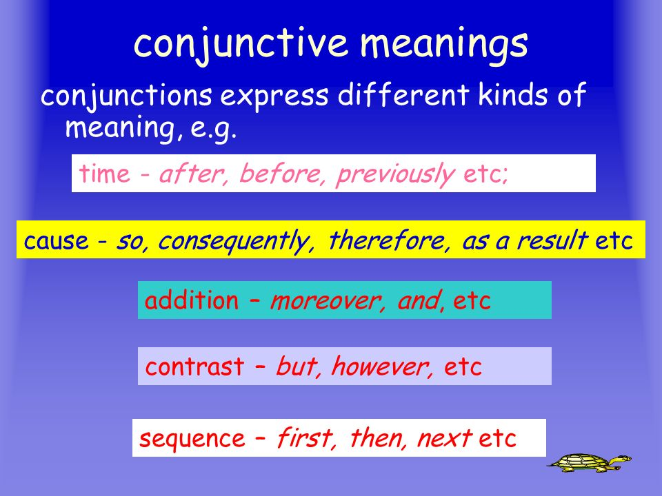 conjunctive meanings conjunctions express different kinds of meaning, e.g. time - after, before, previously etc;