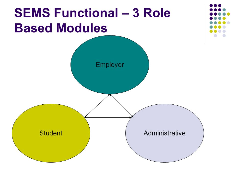 SEMS Functional – 3 Role Based Modules