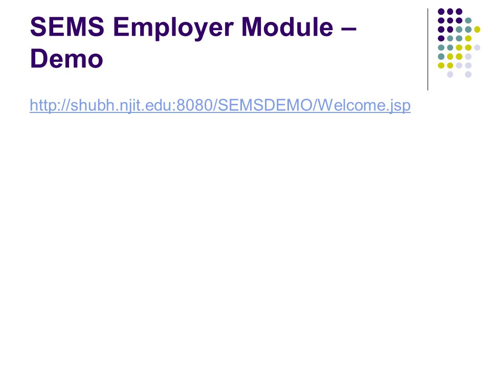 SEMS Employer Module – Demo