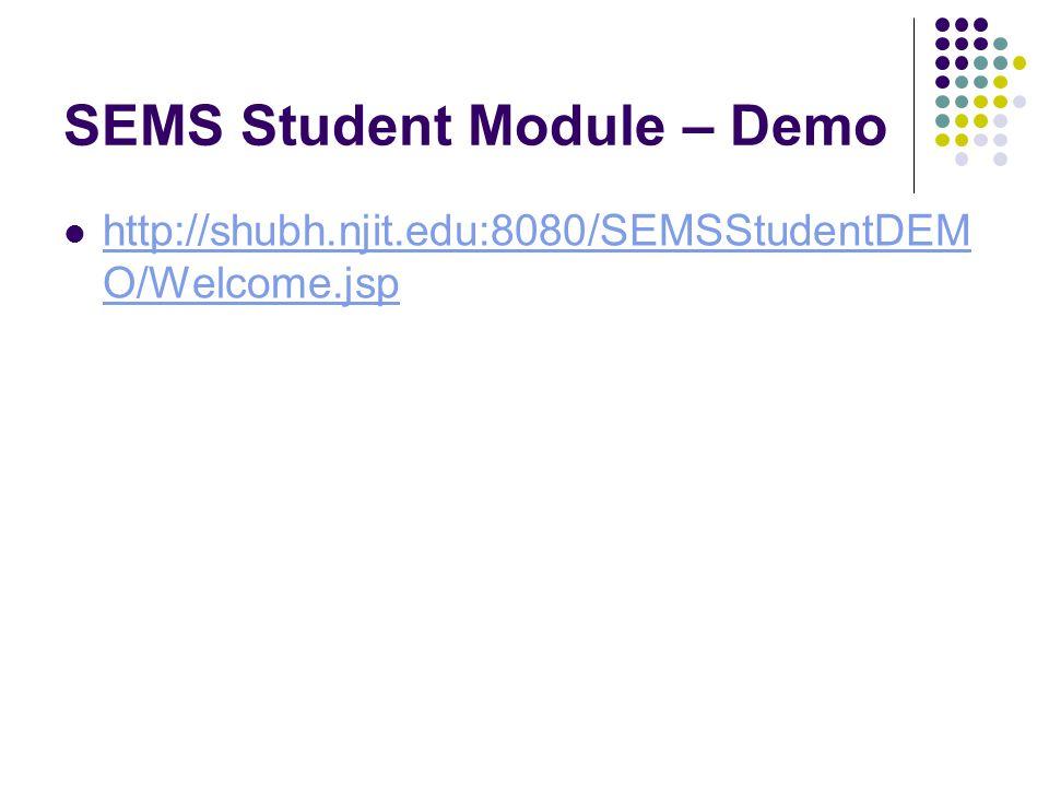 SEMS Student Module – Demo