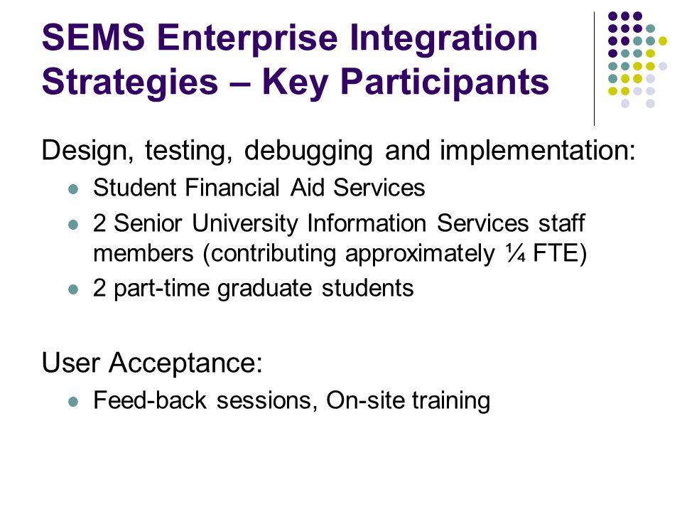 SEMS Enterprise Integration Strategies – Key Participants
