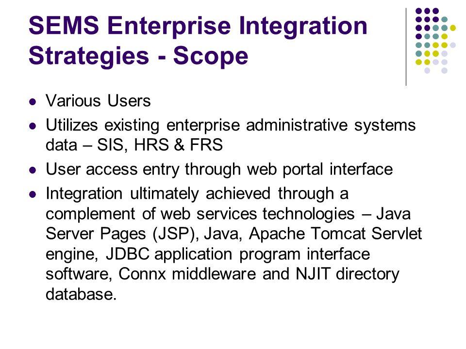 SEMS Enterprise Integration Strategies - Scope