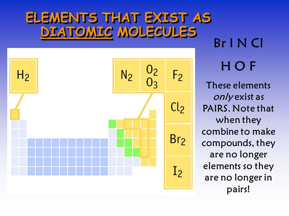 ELEMENTS THAT EXIST AS DIATOMIC MOLECULES