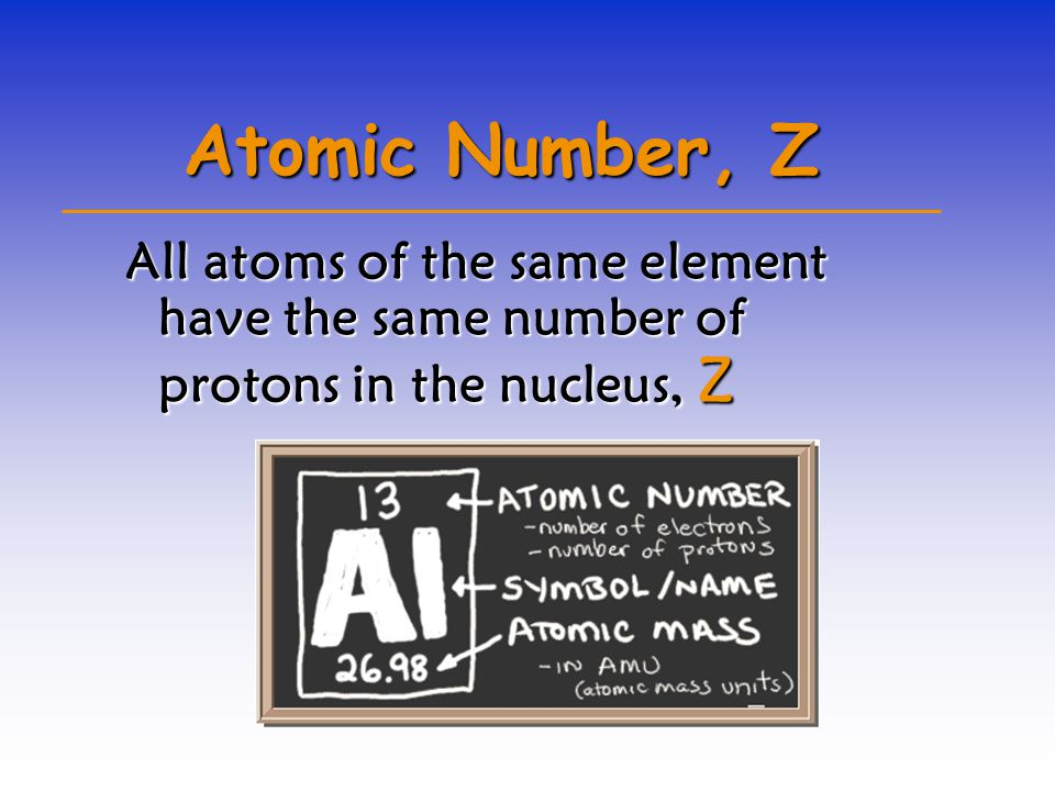 Atomic Number, Z All atoms of the same element have the same number of protons in the nucleus, Z