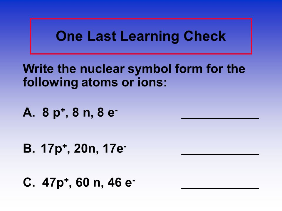 One Last Learning Check