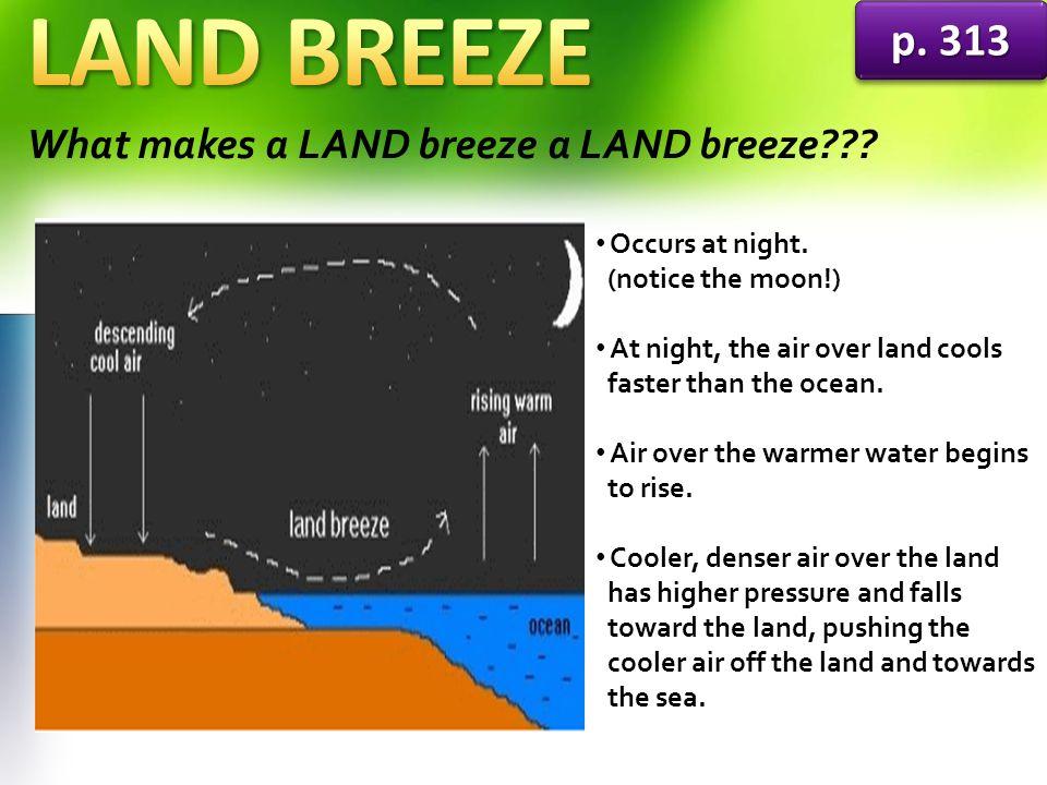 LAND BREEZE p. 313 What makes a LAND breeze a LAND breeze