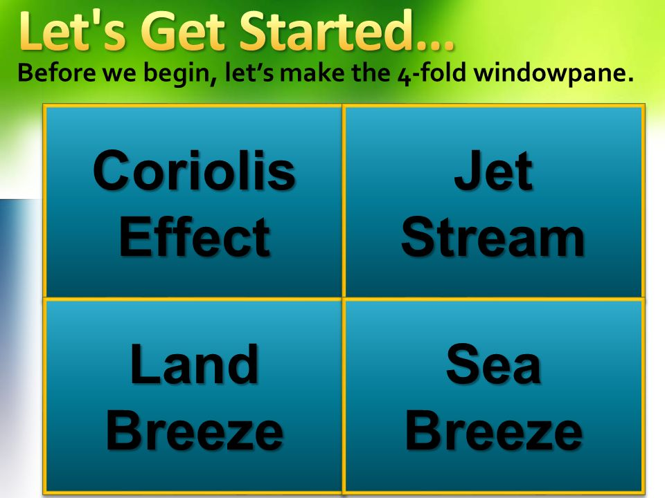 Let s Get Started… Coriolis Effect Jet Stream Land Breeze Sea Breeze