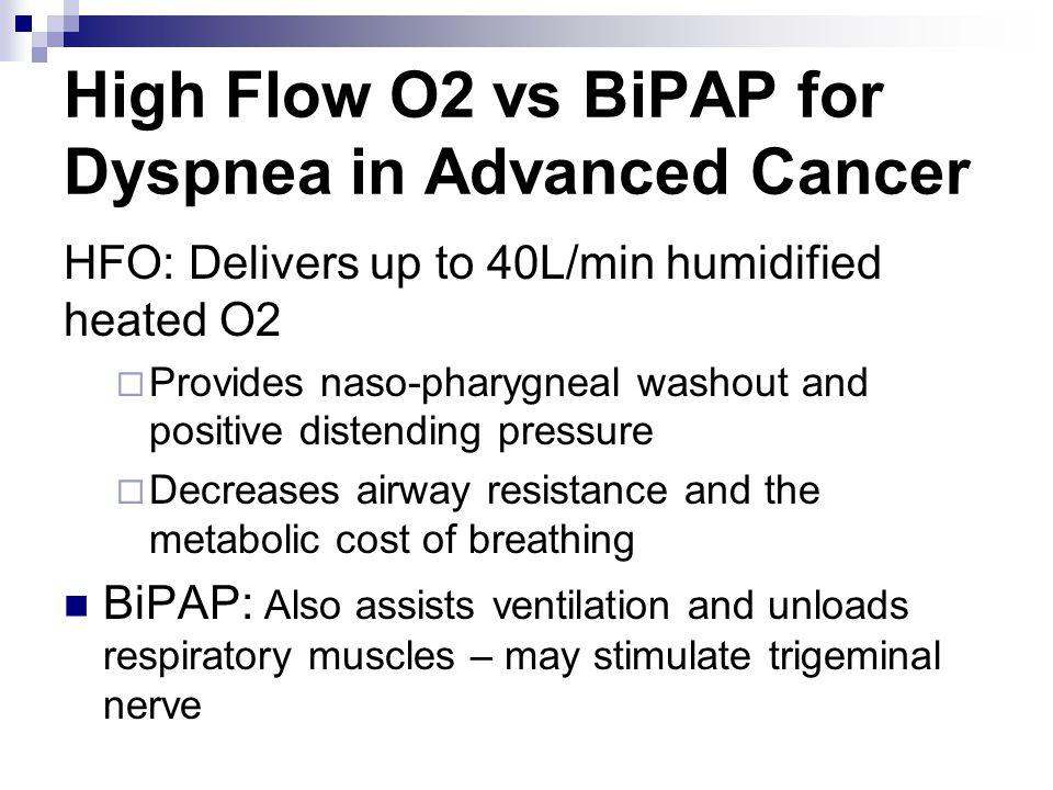 High Flow O2 vs BiPAP for Dyspnea in Advanced Cancer