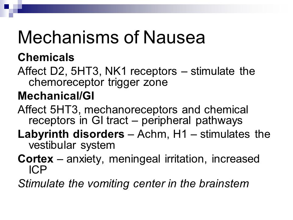 Mechanisms of Nausea Chemicals