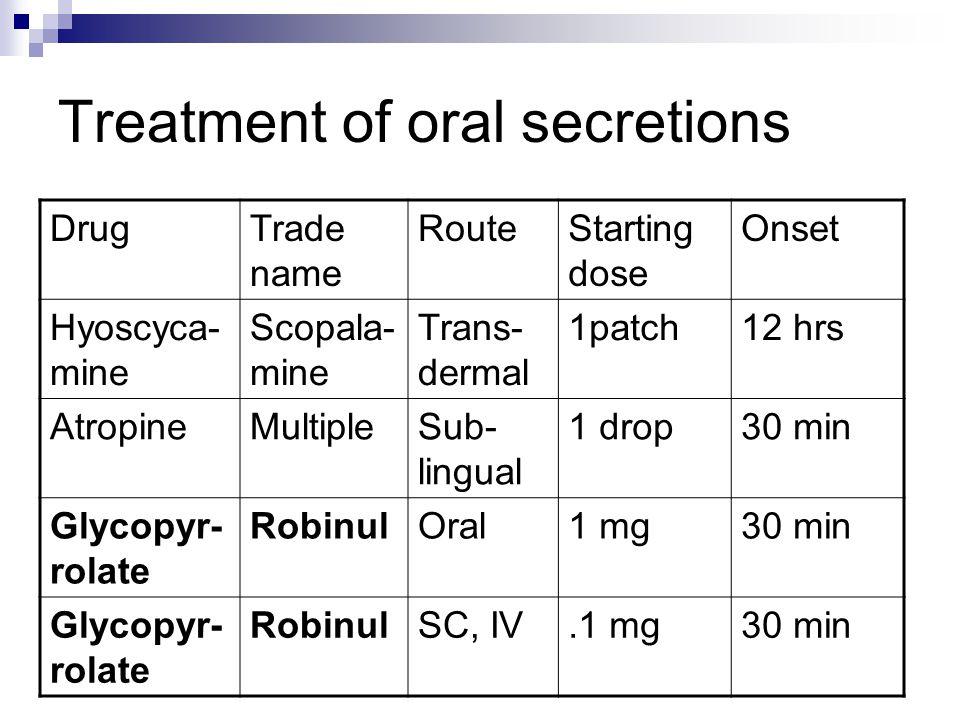 Treatment of oral secretions
