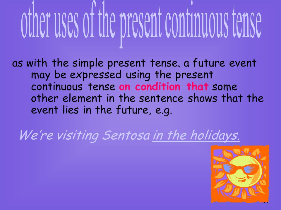 other uses of the present continuous tense