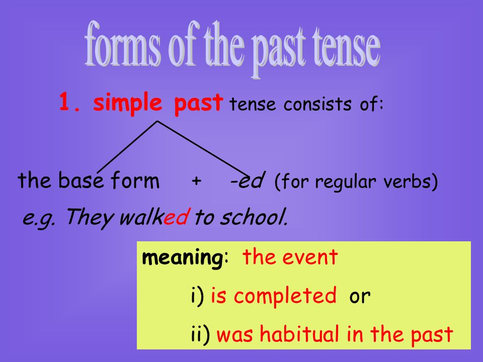 forms of the past tense 1. simple past tense consists of: