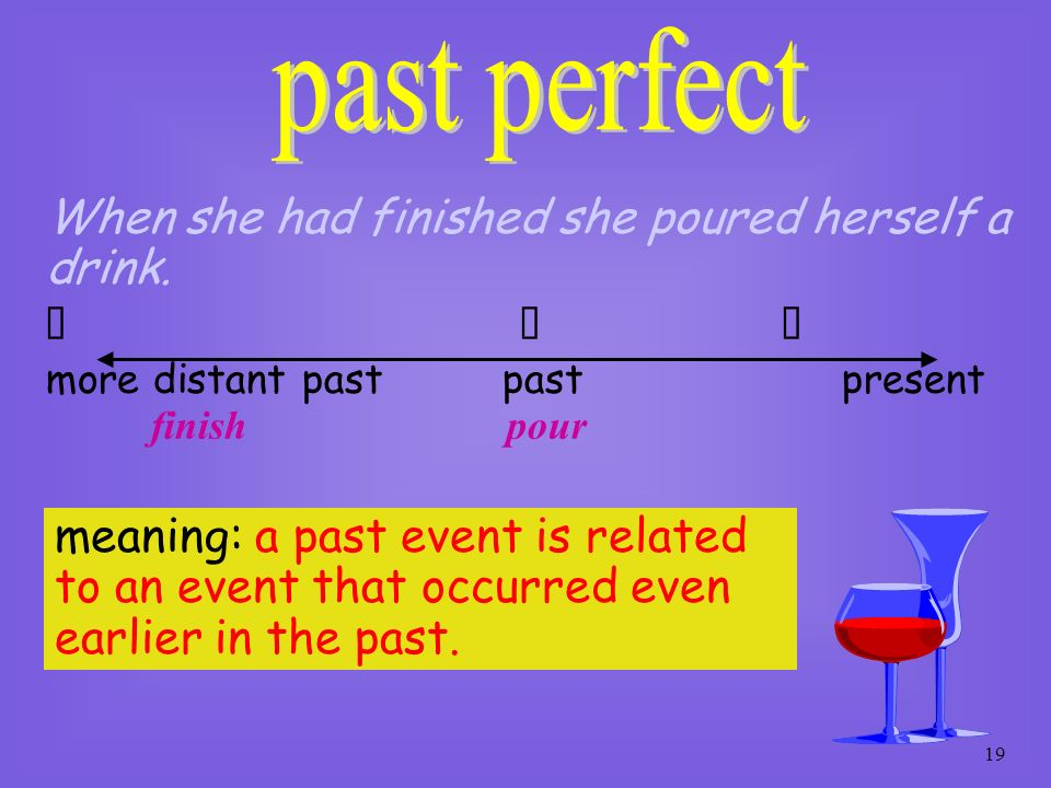 past perfect When she had finished she poured herself a drink.