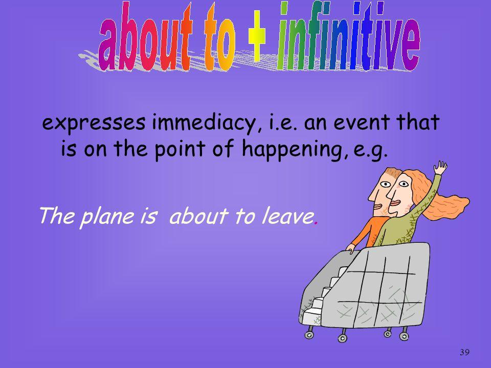 expresses immediacy, i. e