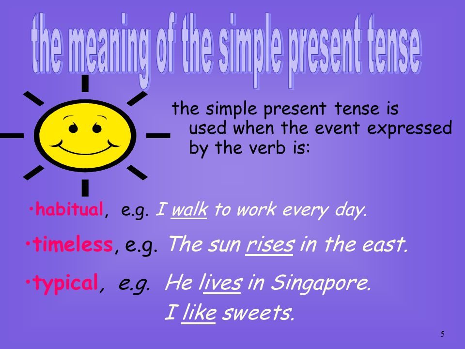 the meaning of the simple present tense