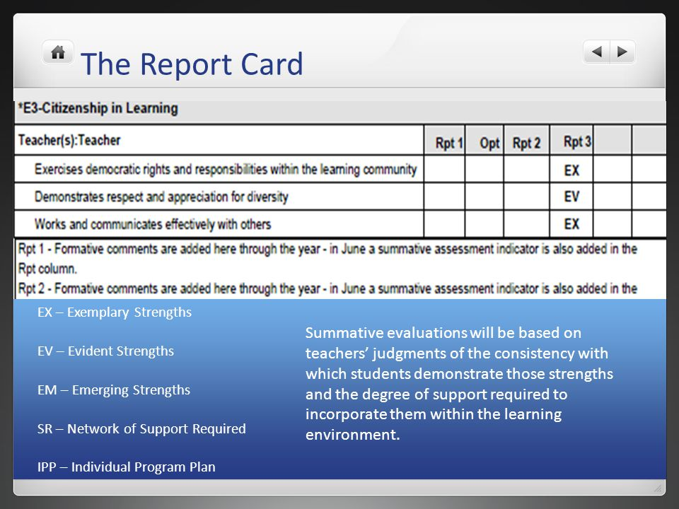 The Report Card EX – Exemplary Strengths. EV – Evident Strengths. EM – Emerging Strengths. SR – Network of Support Required.