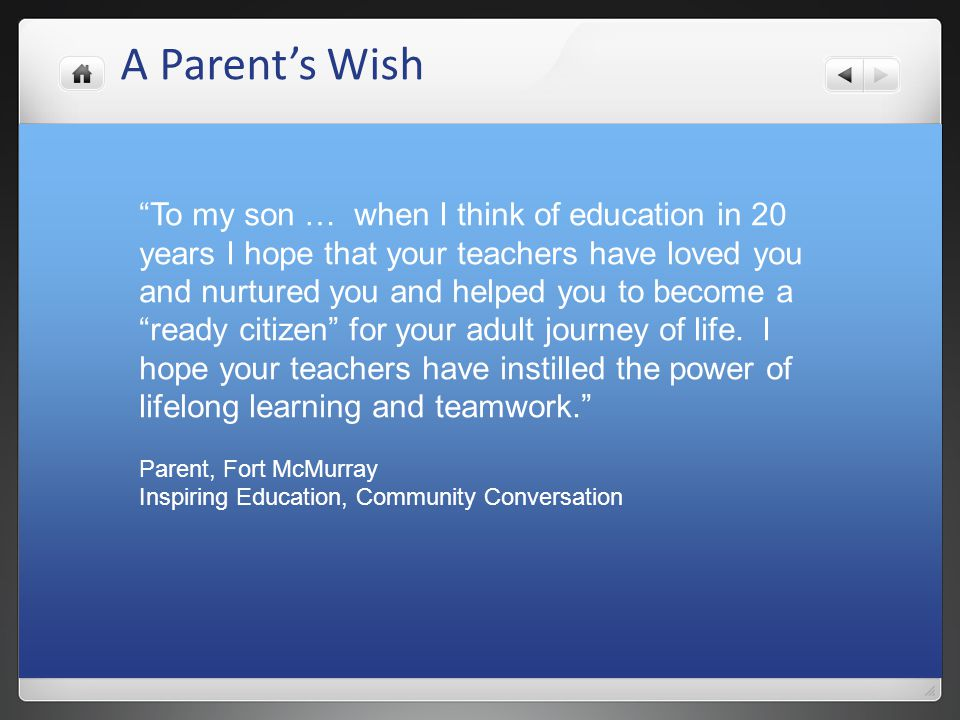 A Parent's Wish
