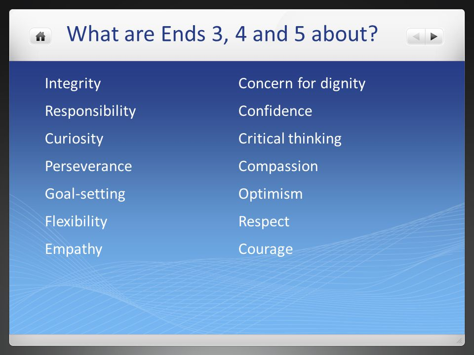 What are Ends 3, 4 and 5 about Integrity Concern for dignity
