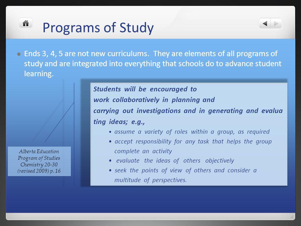 Alberta Education Program of Studies Chemistry 20-30