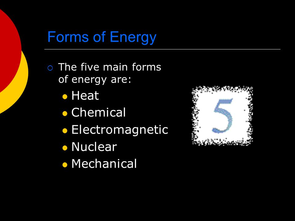 Forms of Energy Heat Chemical Electromagnetic Nuclear Mechanical