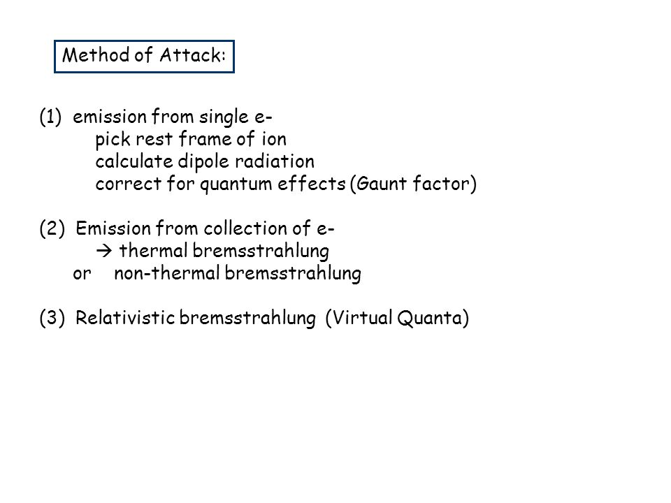 Method of Attack: (1) emission from single e- pick rest frame of ion. calculate dipole radiation.