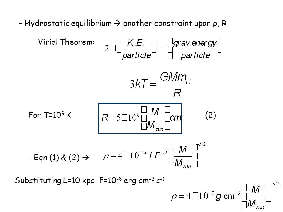 - Hydrostatic equilibrium  another constraint upon ρ, R