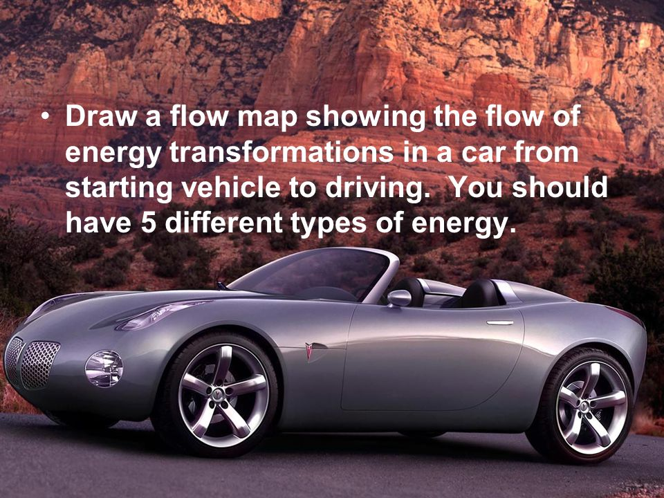 Draw a flow map showing the flow of energy transformations in a car from starting vehicle to driving.