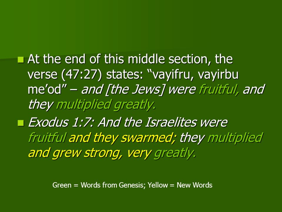 Green = Words from Genesis; Yellow = New Words