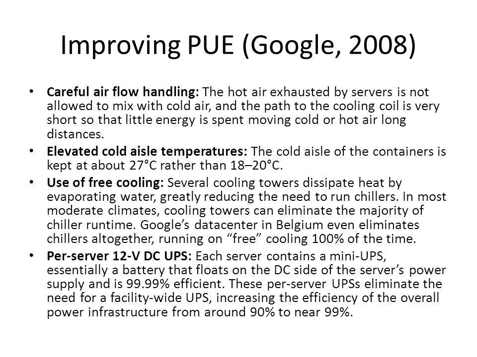 Improving PUE (Google, 2008)