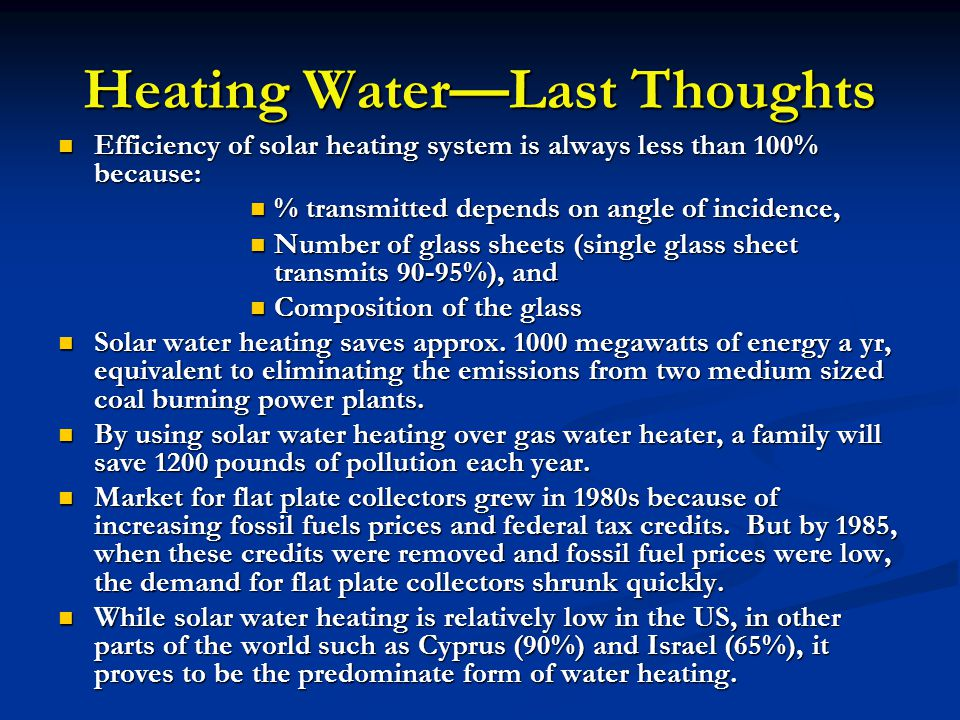 Heating Water—Last Thoughts