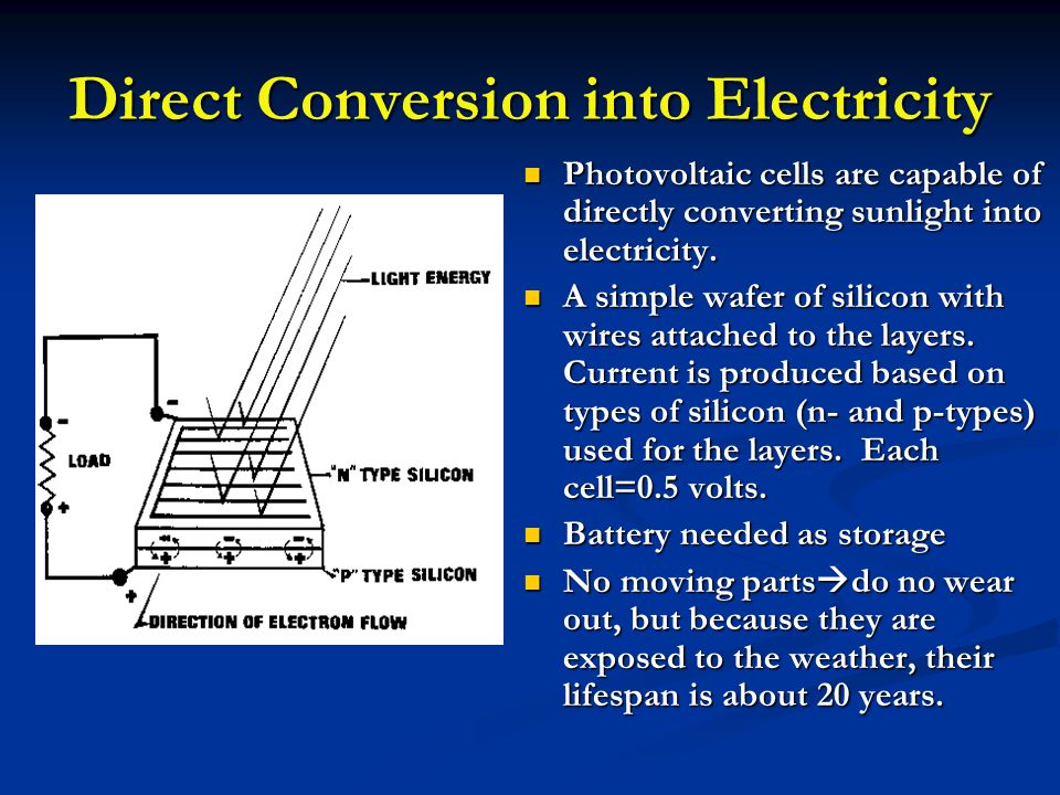 Direct Conversion into Electricity