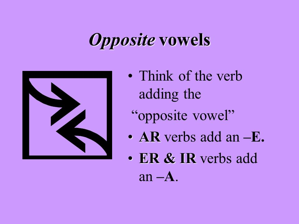 Opposite vowels Think of the verb adding the opposite vowel