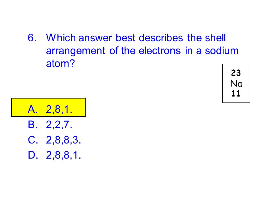 Which answer best describes the shell arrangement of the electrons in a sodium atom