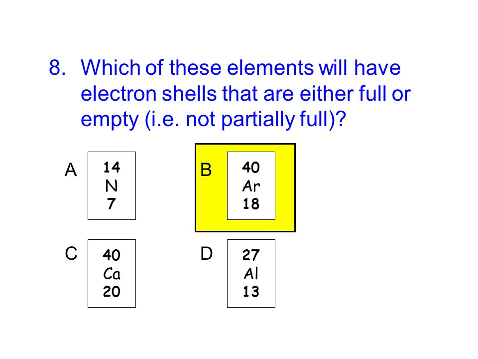 Which of these elements will have electron shells that are either full or empty (i.e. not partially full)