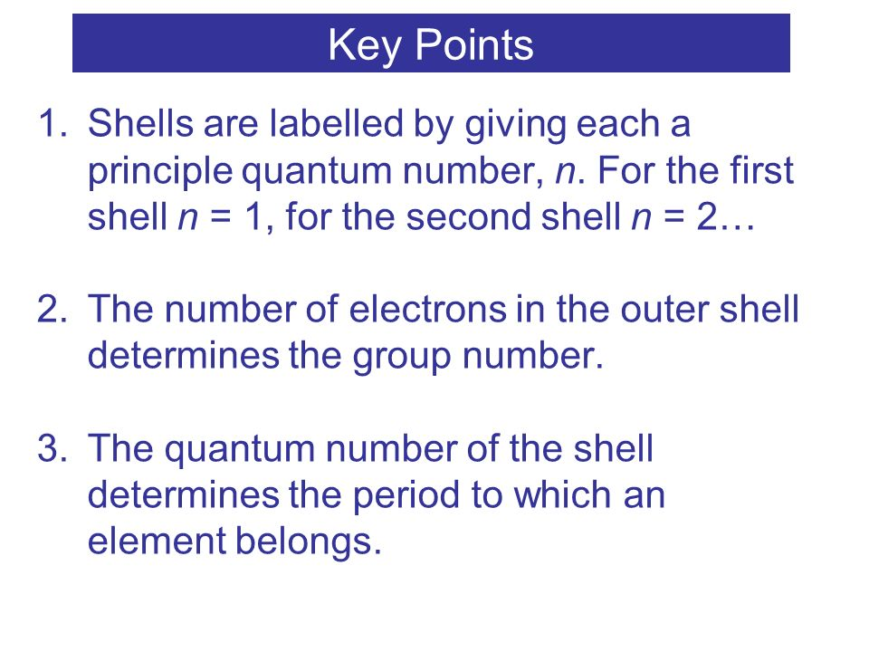 Key Points Shells are labelled by giving each a principle quantum number, n. For the first shell n = 1, for the second shell n = 2…