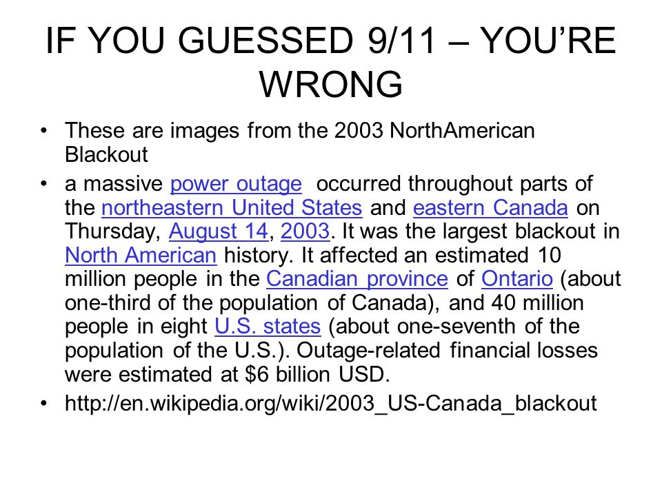IF YOU GUESSED 9/11 – YOU'RE WRONG