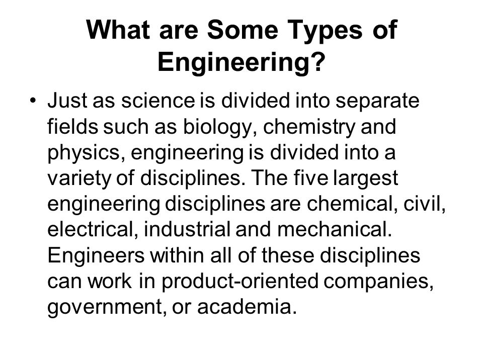 What are Some Types of Engineering