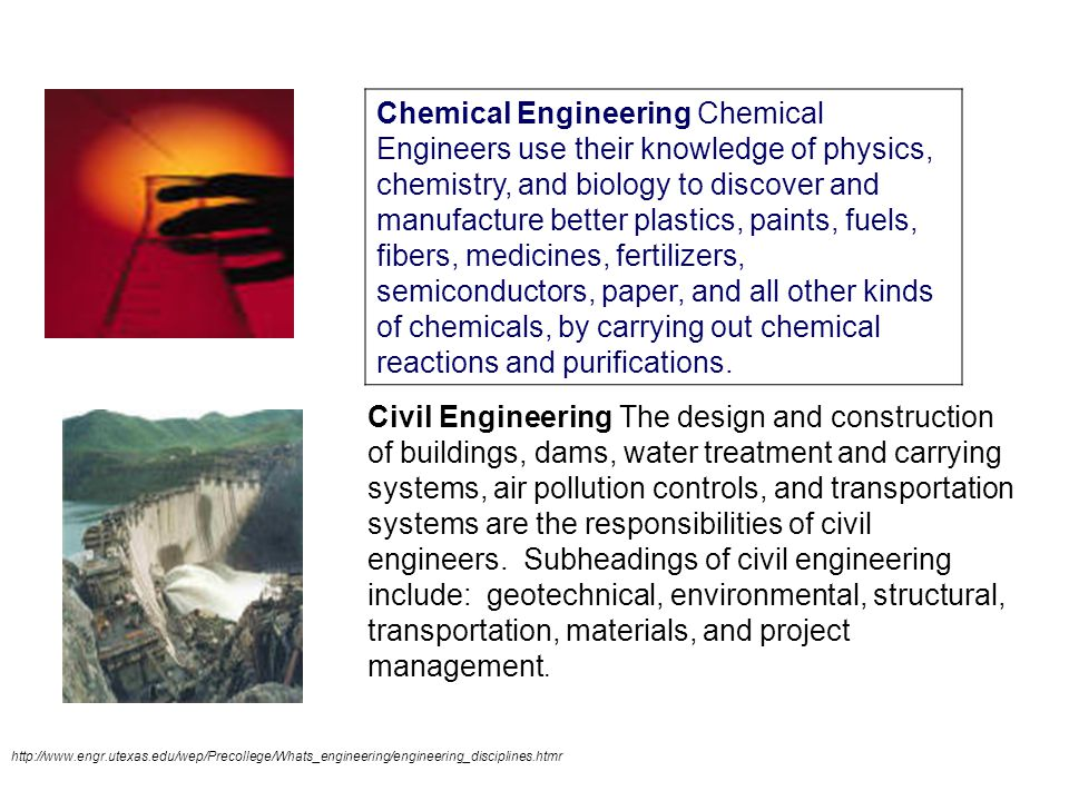 Chemical Engineering Chemical Engineers use their knowledge of physics, chemistry, and biology to discover and manufacture better plastics, paints, fuels, fibers, medicines, fertilizers, semiconductors, paper, and all other kinds of chemicals, by carrying out chemical reactions and purifications.