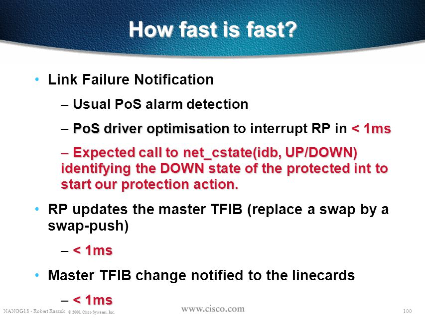 How fast is fast Link Failure Notification
