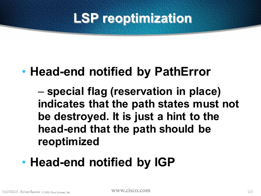 LSP reoptimization Head-end notified by PathError