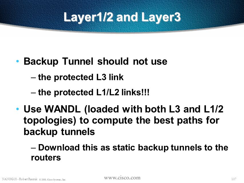 Layer1/2 and Layer3 Backup Tunnel should not use