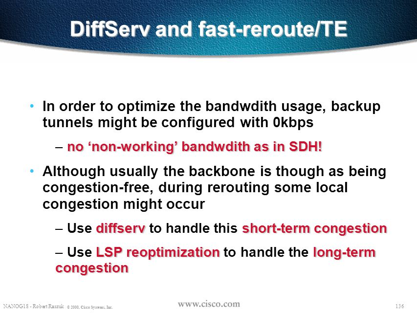 DiffServ and fast-reroute/TE