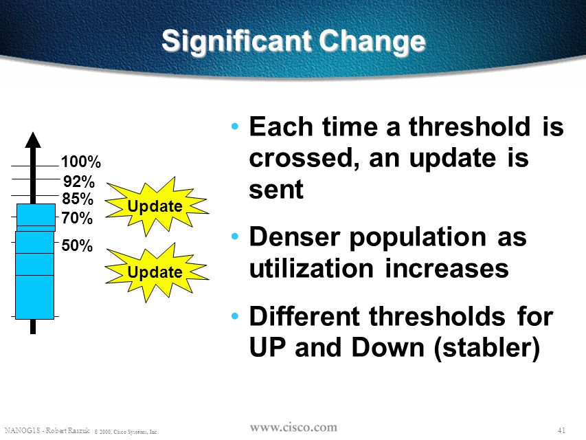 Significant Change Each time a threshold is crossed, an update is sent